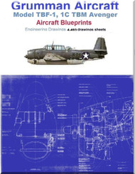 Grumman TBF-1, 1C TBM Avenger Aircraft Blueprints Engineering Drawings - DVDs or Download