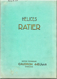 Ratier Propeller / Caudron 445 / 449 Aircraft Propeller   Manual  ( French Language )