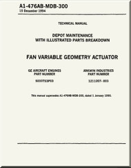 Fan Variable Geometry Actuator    Depot Maintenance  with  Illustrated Parts Breakdown  Manual NAVAIR A1-476AB-MDB-300