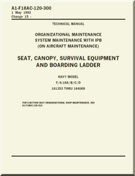 Mc Donnell Douglas F / A 18 A / B / C / D  Aircraft  Organizational  Maintenance  - System Maintenance with IPB ( on Aircraft Maintenance ) - Seat, Canopy, Survival Equipment, and Boarding Ladder   Manual -  A1-F18AC-120-300