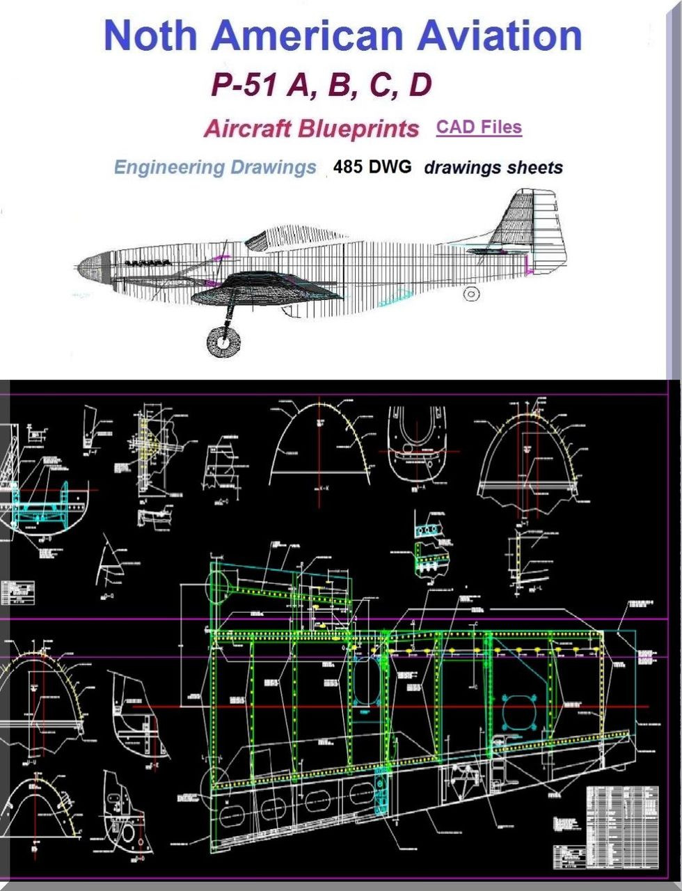 North American Aviation P-51 Aircraft Blueprints Engineering Drawings CAD  Files - Download