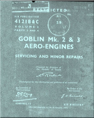 De Havilland Goblin Mk. 2 & 3 Aircraft  Engines Service and Minor  Repair Manual - 4121 B & C Vol. 2 Part 3 and 4