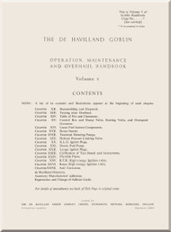 De Havilland Goblin  2, 3  and 35B Aircraft  Engine Opeation, Maintenance and Overhaul  Handbook Manual  Volume 2