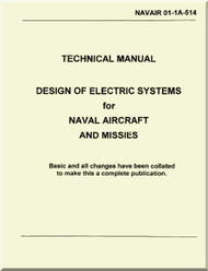 Technical Manual -  Design of Electric Systems for Naval Aircraft and Missiles  Distribution    - NAVAIR 01-1A-514