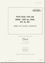 Westland Gazelle ASH Mk1  Helicopter Component  - Pitot Head, Type 500 Badin  - General and Technical Information A.P. 112G-0934-1