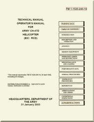Boeing Helicopter CH-47 D Technical Manual Operator's  Manual TM 1-1520-240- 10