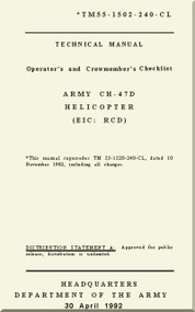 Boeing  Helicopter CH-47 D Operator's and Crew-member Checklist , TM 55-1502-240-CL