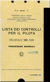 Aermacchi M-326  Aircraft Check List Manual - 1966 - ( Italian Language )