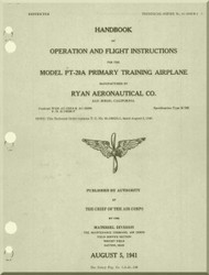 Ryan PT-20 A  Aircraft Primary Training Airplane Handbook  Operation and Flight Instructions Manual- T.O.01-100GB-1 - 19411