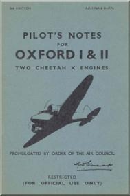 Airspeed OXFORD I & II Aircraft Pilot's Notes Manual -  A.P. 1596 A & B - P.N.  ( English Language )