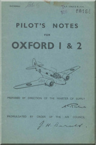 Airspeed OXFORD 1 & 2 Aircraft Pilot's Notes Manual -  A.P. 1596 A & B - P.N.   3rd Edition