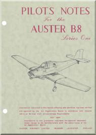 Auster B.8 Series One  Aircraft Pilots Notes  Manual