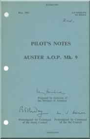 Auster A.O.P. Mk. 9 Aircraft  Pilot's Notes Manual -  A.P. 2440 H  -P.N.