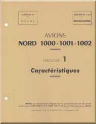 Nord 1000, 1001, 1002  Aircraft  Avion  Caracteristiques  Manual Manuel  -   ( French language ) -