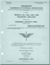 Lockheed C-40, A, B  Airplanes Aircraft Handbook of Overhaul Instructions  Manual - 1939
