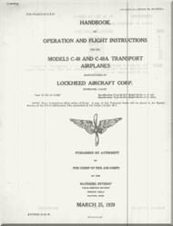 Lockheed C-40, A, B  Airplanes Aircraft Handbook Operation and Flight Instructions  Manual - 1939