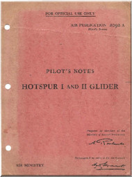General Aircraft G.A.L. 48 Hotspur  Glider   Aircraft Pilot's Note Manual