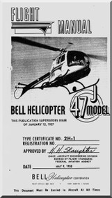 Bell Helicopter 47 J Flight  Manual  - 1958