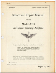 Curtiss AT-9  Aircraft Structural Repair   Manual 01-25KA-5