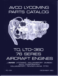 Lycoming TO, LTO-360 and  76  Series   Aircraft Engine Parts Manual   PC-124 - 1980
