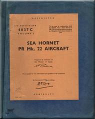 De Havilland Sea Hornet PR MK.22 Aircraft Service and Descriptive Handbook Manual - A.P. 4037C- Vol 1 -1949