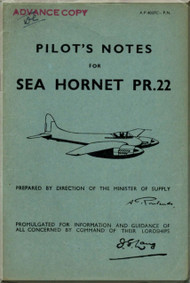 De Havilland Sea  Hornet PR.22 Aircraft Pilot's Notes Manual - A.P. 4037C - PN