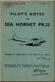 De Havilland Sea  Hornet PR.22 Aircraft Pilot's Notes Manual - A.P. 4037C - PN