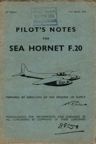 De Havilland  Sea Hornet F.20 Aircraft Pilot's Notes Manual - A.P. 4037A - PN