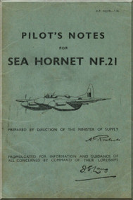 De Havilland  Sea Hornet NF.21 Aircraft Pilot's Notes Manual - A.P. 4037B - PN