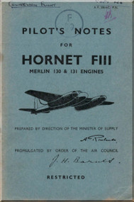 # De Havilland  Hornet FIII Aircraft Pilot's Notes Manual - A.P. 2864 - C - PN