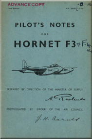 De Havilland  Hornet F3 Aircraft Pilot's Notes Manual - A.P. 2864 C - PN 2nd Edition