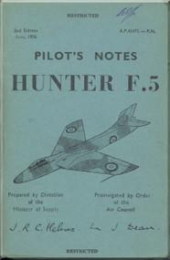 Hawker Hunter F.5  Aircraft  Pilot's Notes Manual A.P. 4347E-P.N. - 1956