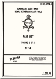 Northrop NF-5 A Aircraft Illustrated Parts  Manual - EO 05-NF5A-4 - Volume 2 of 2 - 1969