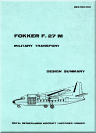 Fokker F-27 M Aircraft Military Transport  Design   Manual -  ( English Language )