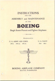 Boeing Single Seater Pursuit Fighter Airplanes Aircraft PW-9 A, C, PB-1, FB-5 Assembly and Maintenance Manual