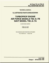 Allison T56-A-7A , -7B Aircraft Engine Illustrated Parts Breakdown   Manual 02B-5DA-504 -1993