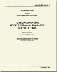 Allison T56-A14, -10W. -10WA ,  Aircraft Engine Maintenance Instructions   Manual 02B-5DD-6-2  -1993