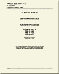 Allison T56-425, 426, 427 ,  Aircraft Engine Maintenance Instructions   Manual 02B-5DF-6-2  -1994