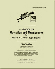 Allison V-1710 E Aircraft Engine Operation and Maintenance  Manual - April 1944