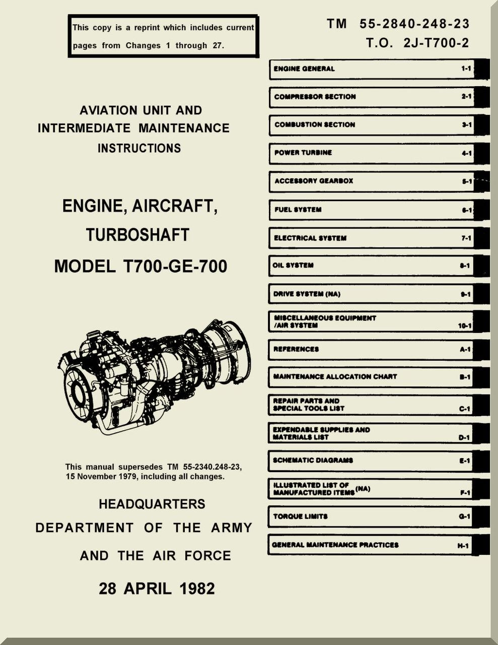 GE T-700-GE-700 Aircraft Turbo Shaft Engine Intermediate Maintenance Manual  2J-T700-2