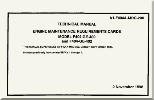 GE F404-GE-400 / 402 Aircraft Turbofan Engine Maintenance