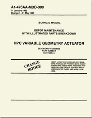 GE F404-GE-400 / 402  Aircraft Turbofan Engine Depot Maintenance with Illustrated Parts Breakdown  HPC Variable Geometry Actuator Manual A1-476AA-MDB-300