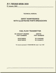 GE F404-GE-400 / 402  Aircraft Turbofan Engine Depot Maintenance with Illustrated Parts Breakdown  Fuel Flow Transmitter   Manual A1-760AB-MDB-300