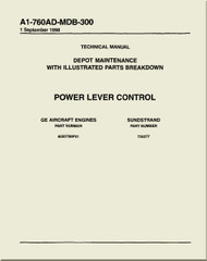GE F404-GE-400 / 402  Aircraft Turbofan Engine Depot Maintenance with Illustrated Parts Breakdown  Power Lever Control Manual A1-760AD-MDB-300