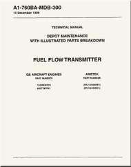 GE F404-GE-400 / 402  Aircraft Turbofan Engine Depot Maintenance with Illustrated Parts Breakdown  Fuel Flow Transmitter  Manual A1-760BA-MDB-300