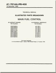 GE F404-GE-400 / 402  Aircraft Turbofan Engine Illustrated Parts Breakdown Main Fuel Control   Manual A1-761AA-IPB-400