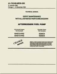 GE F404-GE-400 / 402  Aircraft Turbofan Engine Depot Maintenance with Illustrated Parts Breakdown  Afterburner Fuel Pump  Manual A1-762AB-MDB-300
