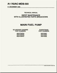 GE F404-GE-400 / 402  Aircraft Turbofan Engine Depot Maintenance with Illustrated Parts Breakdown  Main  Fuel Pump  Manual A1-762AC-MDB-300