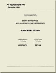 GE F404-GE-400 / 402  Aircraft Turbofan Engine Depot Maintenance with Illustrated Parts Breakdown  Main  Fuel Pump  Manual A1-762AD-MDB-300