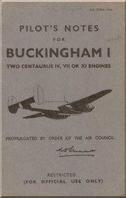 Bristol Buckingham I Aircraft Pilot's Notes  Manual A.P. 2100A -P.N